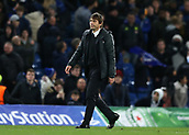 5th December 2017, Stamford Bridge, London, England; UEFA Champions League football, Chelsea versus Atletico Madrid; Chelsea Manager Antonio Conte looking disappointed after full time with a 1-1 draw