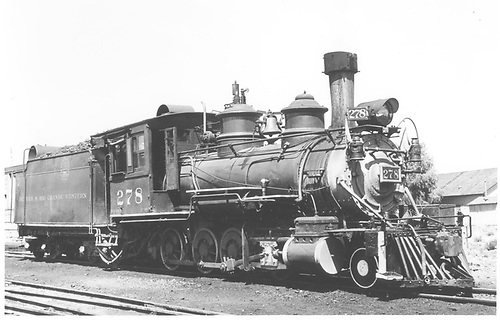 3/4 engineer's-side view of D&amp;RGW #278, perhaps at Gunnison.<br /> D&amp;RGW    Taken by Thode, Jackson C.