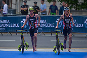 June 11th 2017, Leeds, Yorkshire, England; ITU World Triathlon Leeds 2017; Brothers Jonathan Brownlee and Alistair Brownlee (gbr) run in with their bikes