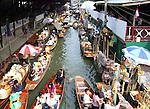 Traditional Thai floating market near Bangkok, Thailand.