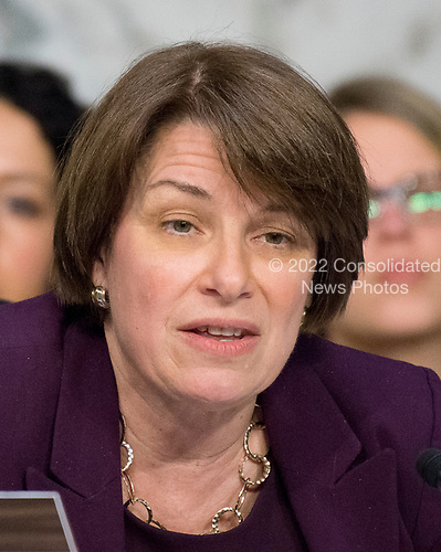 United States Senator Amy Klobuchar (Democrat of Minnesota) listens to testimony before the US Senate Committee on the Judiciary Subcommittee on Crime and Terrorism hearing titled &ldquo;Russian Interference in the 2016 United States Election&rdquo; on Capitol Hill in Washington, DC on Monday, May 8, 2017.<br /> Credit: Ron Sachs / CNP<br /> (RESTRICTION: NO New York or New Jersey Newspapers or newspapers within a 75 mile radius of New York City)