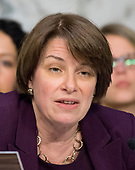 """United States Senator Amy Klobuchar (Democrat of Minnesota) listens to testimony before the US Senate Committee on the Judiciary Subcommittee on Crime and Terrorism hearing titled """"Russian Interference in the 2016 United States Election"""" on Capitol Hill in Washington, DC on Monday, May 8, 2017.<br /> Credit: Ron Sachs / CNP<br /> (RESTRICTION: NO New York or New Jersey Newspapers or newspapers within a 75 mile radius of New York City)"""