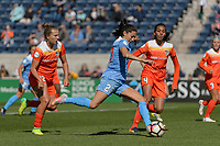 Bridgeview, IL - Saturday May 06, 2017: Amber Brooks, Christen Press, Bruna Benites during a regular season National Women's Soccer League (NWSL) match between the Chicago Red Stars and the Houston Dash at Toyota Park. The Red Stars won 2-0.