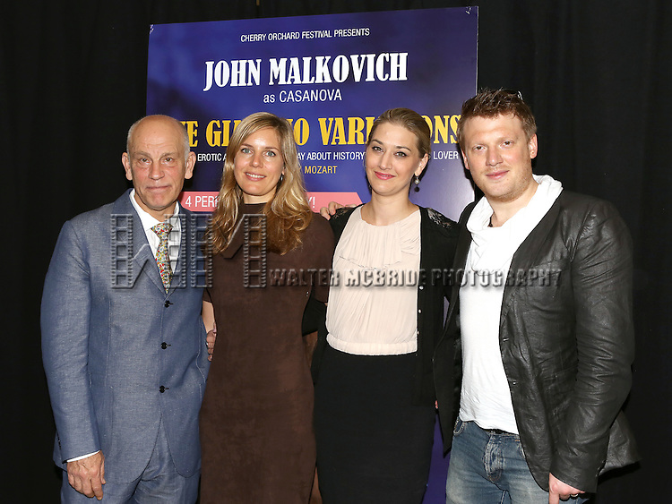 John Malkovich and singers Sophie Klussmann, Kirsten Blaise and Daniel Schmutzhard  attending the Press Discussion for 'The Giacomo Variations' at the City Center Rehearsal Studio in New York City on May 29, 2013