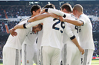 Real Madrid's Karim Benzema, Raphael Varane, Alvaro Morata, Sergio Ramos and Pepe celebrate goal during La Liga match.March 02,2013. (ALTERPHOTOS/Acero) /NortePhoto