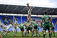 Geoff Parling of Exeter Chiefs wins the ball at a lineout. Aviva Premiership match, between London Irish and Exeter Chiefs on February 21, 2016 at the Madejski Stadium in Reading, England. Photo by: Patrick Khachfe / JMP