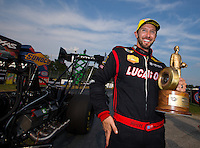 Sep 7, 2015; Clermont, IN, USA; NHRA top fuel driver Morgan Lucas celebrates after winning the US Nationals at Lucas Oil Raceway. Mandatory Credit: Mark J. Rebilas-USA TODAY Sports
