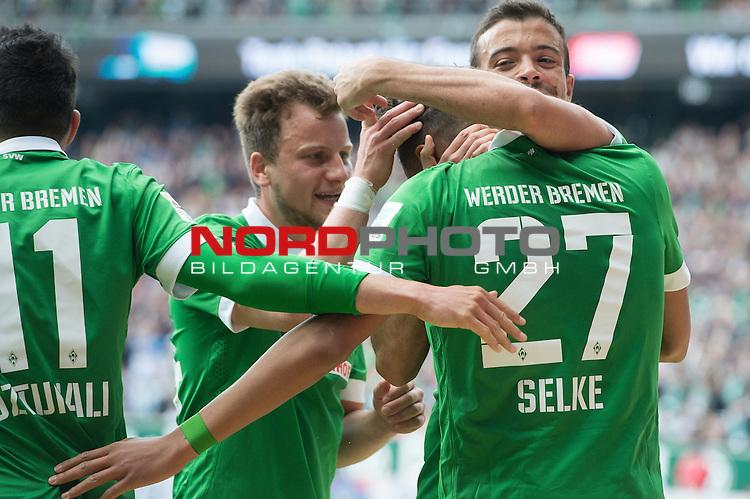 02.05.2015, Weser Stadion, Bremen, GER, 1.FBL. Werder Bremen vs Eintracht Frankfurt, im Bild<br /> <br /> <br /> Jubel  zu 0 zu 1 Davie Selke (Bremen #27)<br /> <br /> hier Philipp Bargfrede (Bremen #44) Franco Di Santo (Bremen #9) Davie Selke (Bremen #27) Levin &Ouml;ztunali / Oeztunali (Bremen #11)<br /> <br /> Foto &copy; nordphoto / Kokenge