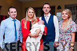 Baby Fionn  Moloney with his parents Emma Patton & Patrick Moloney, Moyvane and god parents James Fitzgerald & Rachel Patton who was christened in the Church of the Asumption, Moyvane by Fr. Kevin McNamara on Saturday last and afterwards at  the Listowel Arms Hotel.