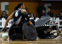 Action from the 2017 International Wheelchair Rugby Federation Asia-Oceania Zone Championships tournament bronze final match between the New Zealand Wheel Blacks and Korea at ASB Stadium in Auckland, New Zealand on Thursday, 31 August 2017. Photo: Dave Lintott / lintottphoto.co.nz