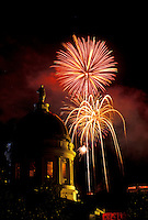 firework, Vermont, VT, Montpelier, Fourth of July fireworks display at the State House in Montpelier at night.