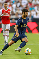 Landover, MD - July 23, 2019: Real Madrid Marco Asensio (20) passes the ball during the match between Arsenal and Real Madrid at FedEx Field in Landover, MD.   (Photo by Elliott Brown/Media Images International)