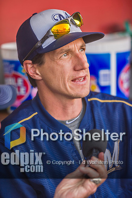 22 August 2015: Milwaukee Brewers Manager Craig Counsell is interviewed prior to a game against the Washington Nationals at Nationals Park in Washington, DC. The Nationals defeated the Brewers 6-1 in the second game of their 3-game weekend series. Mandatory Credit: Ed Wolfstein Photo *** RAW (NEF) Image File Available ***