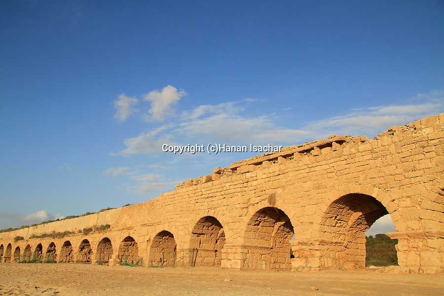 Israel, Sharon region, the Roman Upper Aqueduct In Caesarea