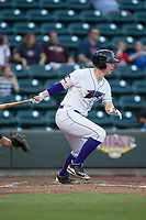 Zack Collins (8) of the Winston-Salem Dash follows through on his swing against the Buies Creek Astros at BB&T Ballpark on June 23, 2017 in Winston-Salem, North Carolina.  The Astros defeated the Dash 3-0.  (Brian Westerholt/Four Seam Images)