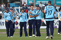 Matt Fisher of Yorkshire celebrates with his team mates after taking the wicket of Matt Coles during Essex Eagles vs Yorkshire Vikings, Royal London One-Day Cup Play-Off Cricket at The Cloudfm County Ground on 14th June 2018