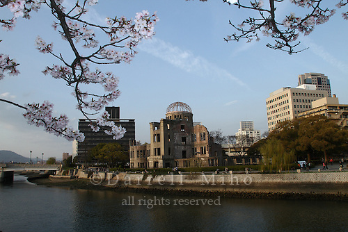 Apr. 04, 2010; Hiroshima, JPN - Cherry blossoms and the Genbaku Dome.