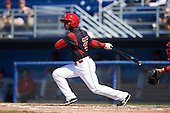 Batavia Muckdogs shortstop Samuel Castro (25) at bat during the first game of a doubleheader against the Auburn Doubledays on September 4, 2016 at Dwyer Stadium in Batavia, New York.  Batavia defeated Auburn 1-0 in a continuation of a game started on August 13. (Mike Janes/Four Seam Images)
