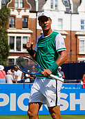 June 19th 2017, Queens Club, West Kensington, London; Aegon Tennis Championships, Day 1; Number seven seed Tomas Berdych (CZE) celebrates after he wins the second set to go through to the second round