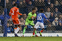 Blackpool's goalkeeper Christoffer Mafoumbi saves<br /> <br /> Photographer Andrew Kearns/CameraSport<br /> <br /> The EFL Sky Bet League One - Portsmouth v Blackpool - Saturday 12th January 2019 - Fratton Park - Portsmouth<br /> <br /> World Copyright &copy; 2019 CameraSport. All rights reserved. 43 Linden Ave. Countesthorpe. Leicester. England. LE8 5PG - Tel: +44 (0) 116 277 4147 - admin@camerasport.com - www.camerasport.com