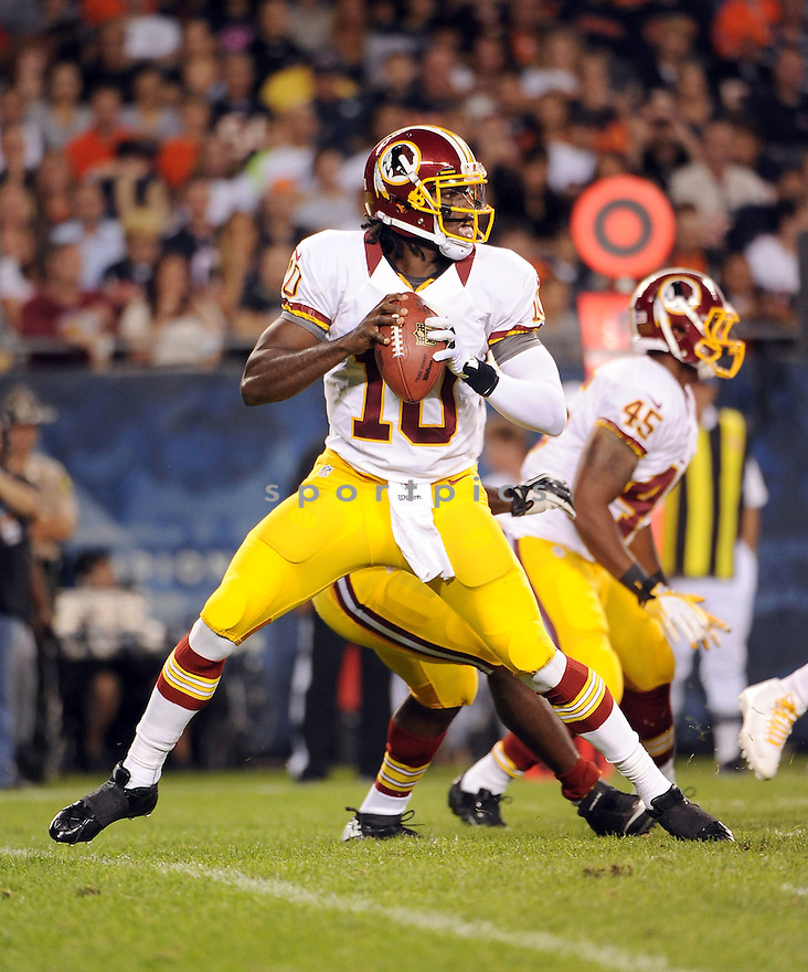 ROBERT GRIFFIN III (10), of the Washington Redskins, in action during the Redskins game against the Chicago Bears on August 18, 2012 at Soldier Field in Chicago, IL. The Bears beat the Redskins 33-31.
