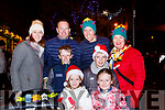 Having fun at the Killarney Christmas parade on Saturday were l-r: Emily O'Connor, Lily and Dylan Counihan, Ronan O'Connor, back row: Annette and Kevin Counihan, Padraig and Sinead O'Connor