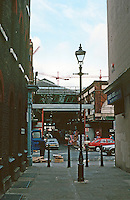 "London:  Spitalfields Market from Puma Court, where Dickens walked. Is the sign ""Takhar Brothers"" visible?  Photo '90."