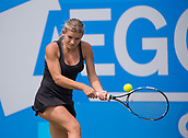 June 11th 2017, Nottingham, England;WTA Aegon Nottingham Open Tennis Tournament day 2;  Jana Fett of Croatia plays a backhand on her way to victory over Sachia Vickery of USA in two sets