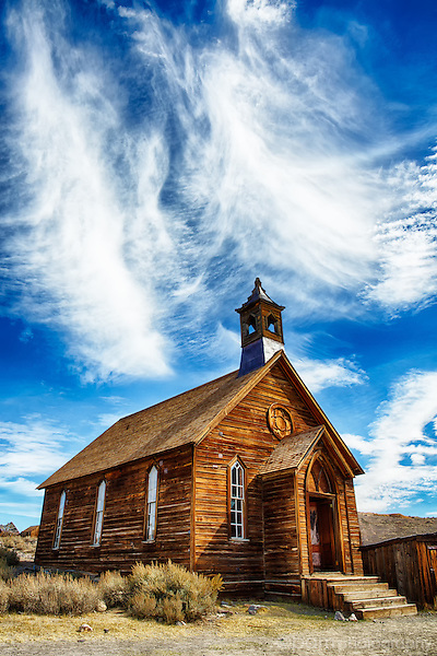 Old wooden church in Bodie Ghost Town, near Lee Vining, CA