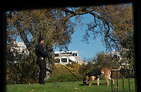Washington DC, November 10, 2016, USA: A member of the Uniformed Secret Service works with his dog patrolling the grounds of the White House. Patsy Lynch/MediaPunch