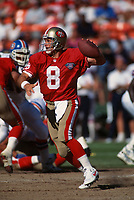 SAN FRANCISCO, CA:  Quarterback Steve Young of the San Francisco 49ers in action during a game against the Denver Broncos at Candlestick Park in San Francisco, California on August 12, 1994. (Photo by Brad Mangin)
