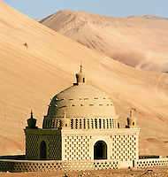 Bezeklik Mosque, otherwise known as Thousand Buddha Cave, near the Singing Sand Dunes, Silk Route; Dunhuang, Jiuquan, Gansu Province, China.