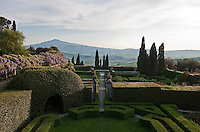 The view from Iris Origo's bedroom reveals the formal setting of the garden at La Foce