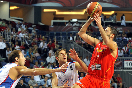 Sep 08, 2010; Istanbul, TURKEY; Serbia defeats Spain 92:89 in a quarterfinal match of the 2010 FIBA World Championship at the Abdi Ipekci Arena. Juan Carlos Navarro of Spain.