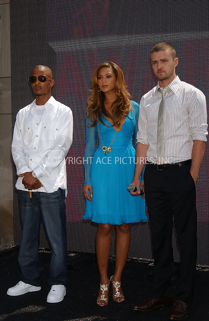 WWW.ACEPIXS.COM . . . . . ....July 31, 2006, New York City. ....Beyonce, T.I. and Justin Timberlake attend the 2006 MTV Video Music Awards Press Conference. ....Please byline: KRISTIN CALLAHAN - ACEPIXS.COM.. . . . . . ..Ace Pictures, Inc:  ..(212) 243-8787 or (646) 769 0430..e-mail: info@acepixs.com..web: http://www.acepixs.com