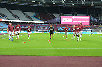 West Ham team warm up during West Ham United vs Newcastle United, Premier League Football at The London Stadium on 12th September 2020