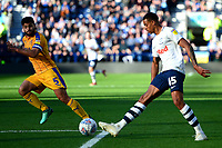 Preston North End's Lukas Nmecha competes with Wigan Athletic's Sam Morsy<br /> <br /> Photographer Richard Martin-Roberts/CameraSport<br /> <br /> The EFL Sky Bet Championship - Preston North End v Wigan Athletic - Saturday 6th October 2018 - Deepdale Stadium - Preston<br /> <br /> World Copyright &copy; 2018 CameraSport. All rights reserved. 43 Linden Ave. Countesthorpe. Leicester. England. LE8 5PG - Tel: +44 (0) 116 277 4147 - admin@camerasport.com - www.camerasport.com