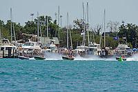 The Jersey Speed Skiffs JS-78, JS-77, JS-20 & JS-88 race past the Detroit Yacht Club...10-12 July, 2009, 100th Gold Cup, Detroit River, Detroit, MI USA..©2009 F.Peirce Williams, USA.