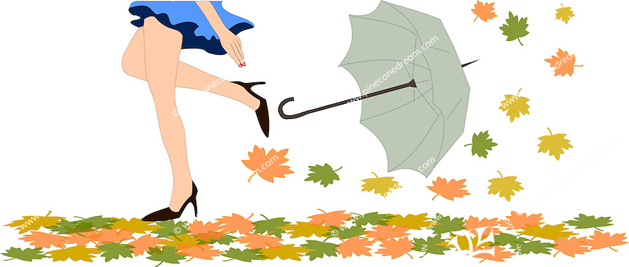 Stock Vector: Tall beautiful girl walking over autumn leaves scattered on ground and her umbrella blowing away in the wind, isolated on white background.<br />