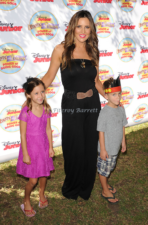 Jillian Barberie and kids arriving at Pirate and Princess: Power Of Doing Good, held at Brookside Park Pasadena, Ca. on August 16, 2014.