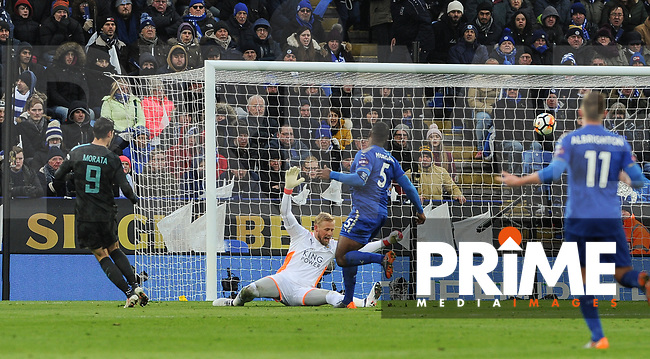 Alvaro Morata of Chelsea scores a goal to make it 1-0 during the FA Cup QF match between Leicester City and Chelsea at the King Power Stadium, Leicester, England on 18 March 2018. Photo by Stephen Buckley / PRiME Media Images.
