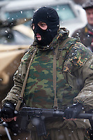 Krasnoarmeysk, Moscow Region, Russia, 29/10/2010..A masked member of Russian special forces at a training exercise at a military base outside Moscow. The exercise was part of the Interpolitex 2010 state security exhibition.