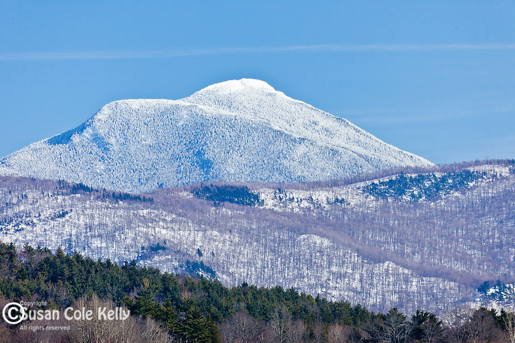 Late winter view of Camel's Hump in Bolton, VT, USA