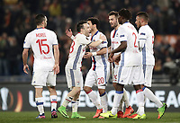 Football Soccer: Europa League Round of 16 second leg, Roma-Lyon, stadio Olimpico, Roma, Italy, March 16,  2017. <br /> Lyon's players celebrate at the end of he Europe League football soccer match between Roma and Lyon at the Olympique stadium, March 16,  2017. <br /> Despite losing 2-1, Lyon reach the quarter finals for 5-4 aggregate win.<br /> UPDATE IMAGES PRESS/Isabella Bonotto