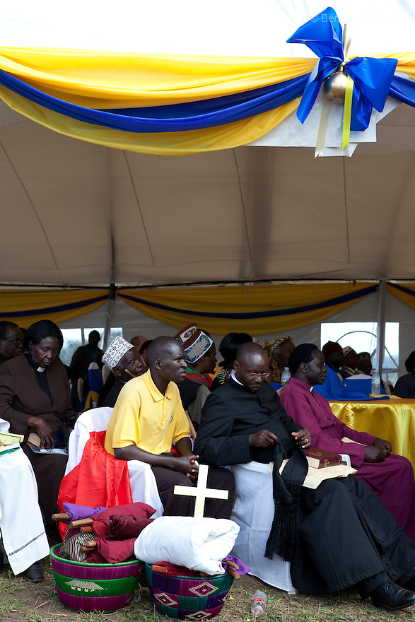 April 17, 2010 - Karuzika Royal Palace, Fort Portal, Uganda - Pastors while attending the18th birthday and coronation celebrations of Uganda's King of the Tooro Kingdom, King Oyo Nyimba Kabamba Iguru Rukidi IV, in Karuzika Royal Palace at Fort Portal. King Oyo is one of the world's youngest ruling monarchs. He ascended to throne at age three after his father, King Olimi Kaboyo, died of a heart attack in 1995. He rules over more than 2 million people in the Tooro kingdom, one of four kingdoms allowed by the government to exist in Uganda. Today he assumed the full duties of King of the Tooros as he reachs adulthood. Photo credit: Benedicte Desrus /Sipa Press