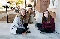 Students chatting on Carpenter steps.<br />  (photo by Megan Bean / &copy; Mississippi State University)