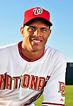 28 February 2010: Washington Nationals center fielder Justin Maxwell poses for his Spring Training photo at Space Coast Stadium in Viera, Florida. Mandatory Credit: Ed Wolfstein Photo