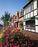 Exterior view of shops along the Alisal Road reflect the Danish heritage of the community of Solvang. Santa Ynez Valley, California.