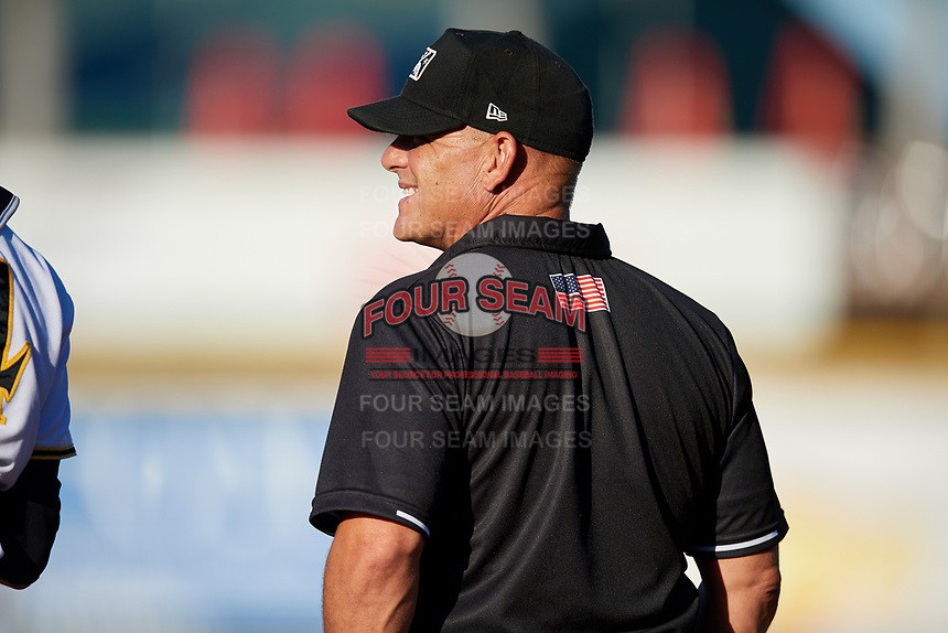 Umpire Cord Coslor during a game between the Tampa Tarpons and the Bradenton Marauders on April 25, 2018 at LECOM Park in Bradenton, Florida.  Tampa defeated Bradenton 7-3.  (Mike Janes/Four Seam Images)