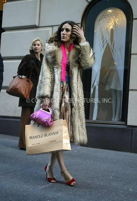 "Sarah Jessica Parker on the set of the HBO series ""Sex and the City"". It was the final day of shooting for the hit TV show. New York City. February 04 2004. Please byline: NY Photo Press.   ..*PAY-PER-USE*      ....NY Photo Press:  ..phone (646) 267-6913;   ..e-mail: info@nyphotopress.com"